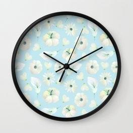 Modern hand painted blush blue white watercolor floral Wall Clock