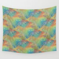 sparkles Wall Tapestries featuring Rainbow Sparkles Leaves Flowers by scorpion