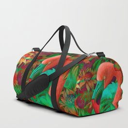 """Tropical Floral Retro Flamenco"" Duffle Bag"