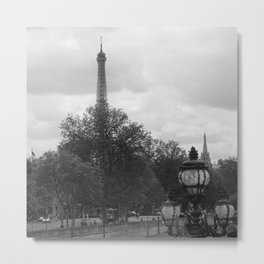 Eifel Tower with light post Metal Print