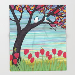 tree swallows in the stained glass tree with tulips and frogs Throw Blanket