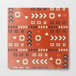 American native shapes in red Metal Print