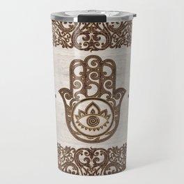Hamsa Hand - Hand of Fatima  wooden texture Travel Mug