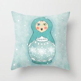 Snow Matryoshka Throw Pillow