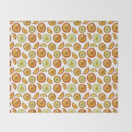 Illustrated Oranges and Limes Throw Blanket