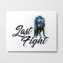 Wolf Last Fight Metal Print