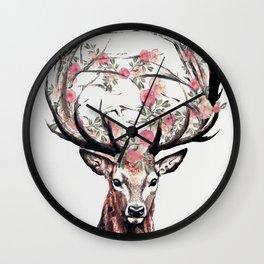 Deer and Flowers Wall Clock