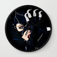 returns Wall Clocks featuring Catwoman Returns  by LARiozzi