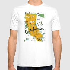 Postcard from California MEDIUM White Mens Fitted Tee