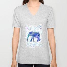 Blue Watercolor Elephant Unisex V-Neck