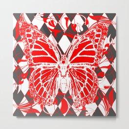DECORATIVE RED & WHITE HARLEQUIN  PATTERN Metal Print