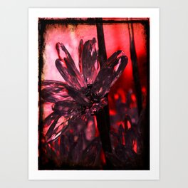 BLING  RED FLOWER  Art Print