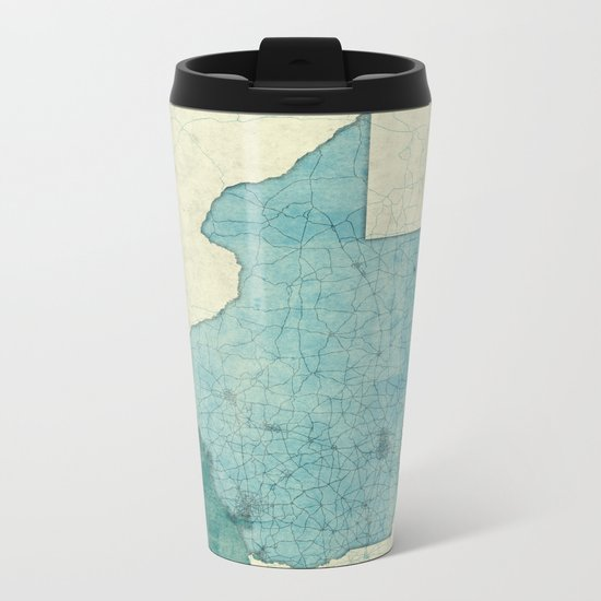 Texas State Map Blue Vintage Metal Travel Mug