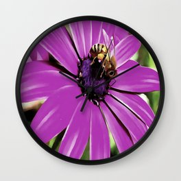 Honey Bee On A Spring Flower Wall Clock