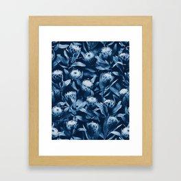 Evening Proteas - Denim Blue Framed Art Print