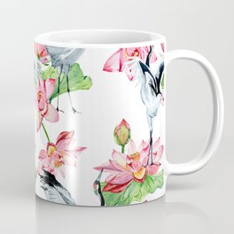 Pattern with cranes and lotuses Coffee Mug