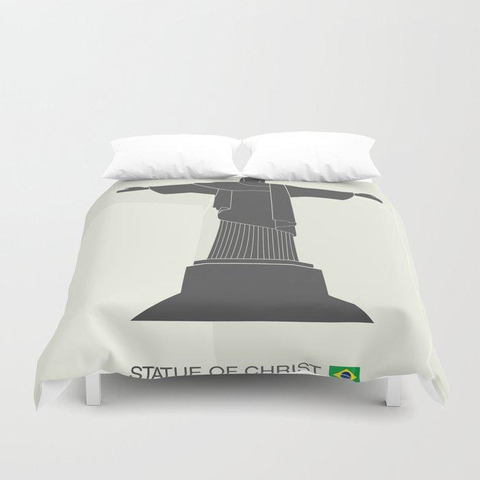 illustration of Statue of Christ in Rio de Janeiro Duvet Cover