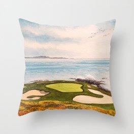 Pebble Beach Golf Course Signature Hole 7 Throw Pillow