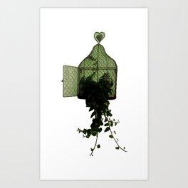 Inspiring Green Freedom Symbolic Illustration Art Print