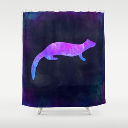 FERRET IN SPACE // Animal Graphic Art // Watercolor Canvas Painting // Modern Minimal Cute Shower Curtain