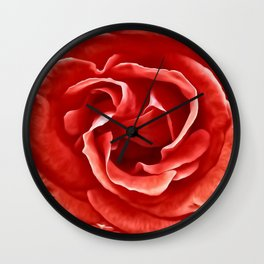 Painted Red Rose Wall Clock