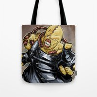 resident evil Tote Bags featuring Nemesis: Resident Evil by Patrick Scullin