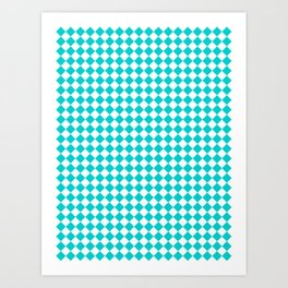 Small Diamonds - White and Cyan Art Print