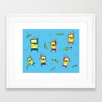 scuba Framed Art Prints featuring Scuba Scuba by Steph Chen