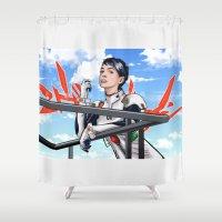 evangelion Shower Curtains featuring Evangelion Rei Hathaway by Akyanyme