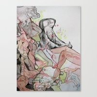 hippo Canvas Prints featuring Hippo  by Joanna Rockwell