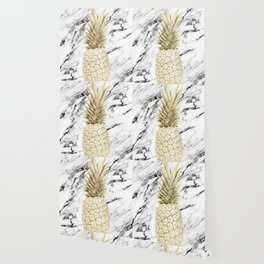 Gold Pineapple on Marble Wallpaper