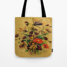 Stained Glass Dragonflies & Flowers Tote Bag