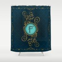 monogram Shower Curtains featuring Monogram F by Britta Glodde