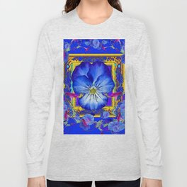 DECORATIVE BLUE PANSY & VINING  MORNING GLORIES Long Sleeve T-shirt