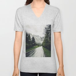Down the Road - Mountains, Forest, Austria Unisex V-Neck