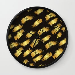 Black faux gold modern abstract paint brushstrokes Wall Clock