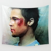 brad pitt Wall Tapestries featuring Brad Pitt 'Tyler Durden' The Fight Club by Vlad Rodriguez