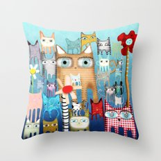 Bunch of Cats Throw Pillow