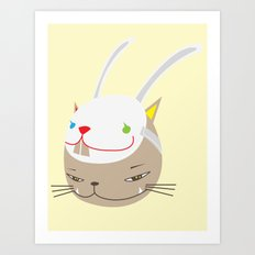 CAT WITH RABBITZ MASK Art Print