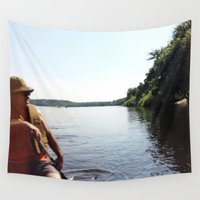 dad Wall Tapestries featuring Fishing Dad by Long Mountain Prints