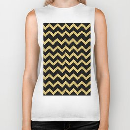 Chevron Black And Gold Biker Tank