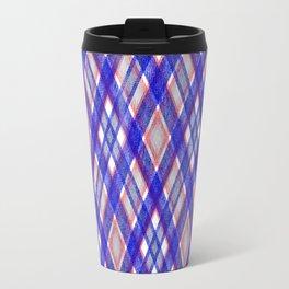 Blue, pink tartan plaid. Travel Mug
