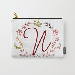 Floral N letter Carry-All Pouch
