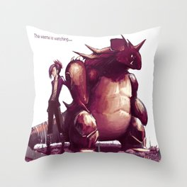The waste is watching...  Throw Pillow