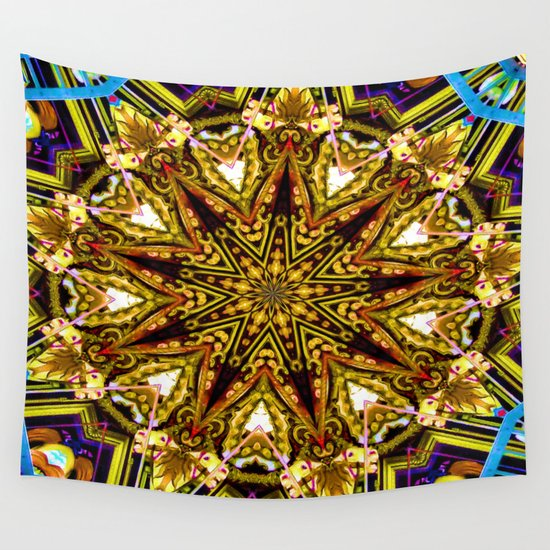 Lovely Healing Mandalas in Brilliant Colors: Gold, red, blue, black, light blue Wall Tapestry