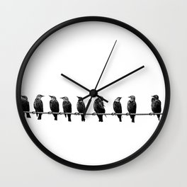 birds on a wire... Wall Clock