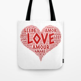 Heart illustrated with Love Word of different languages Tote Bag