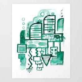 Inktober Green ink drawing 1 Art Print