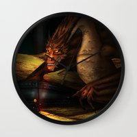 smaug Wall Clocks featuring Smaug by wolfanita