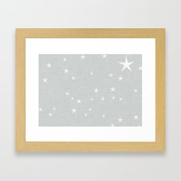 Grey star with fabric texture - narwhal collection Framed Art Print